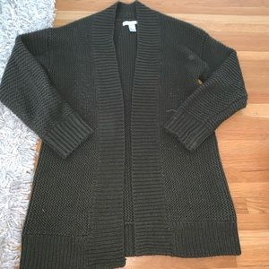 Army green knit cardigan size small